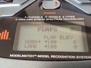 Spektrum DX6i Flaps Einstellungen