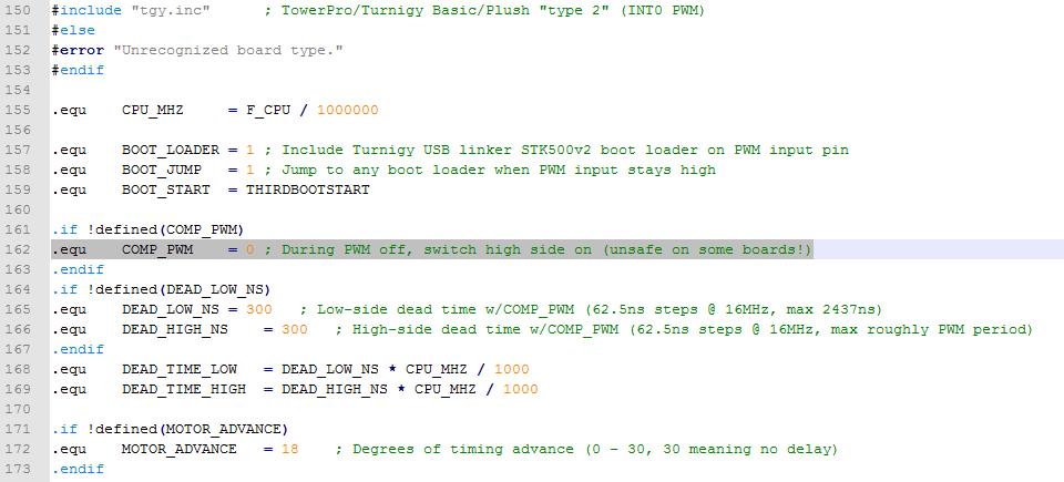 Beispiel - Complemetary PWM in der SimonK Firmware aktivieren