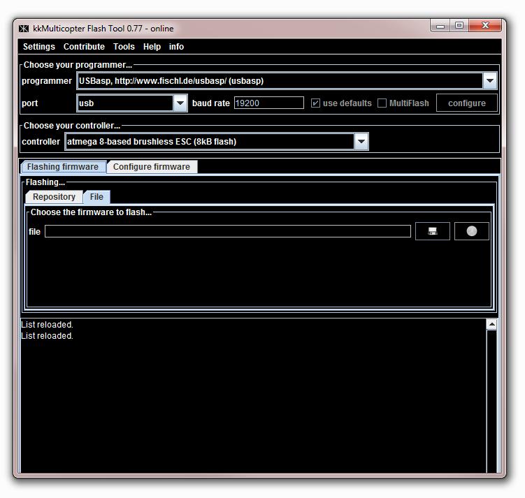 KK Tool - Eigenes HEX-File benutzen um SimonK Firmware zu flashen