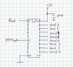 Beschaltung ATTINY 2313 PPM Encoder
