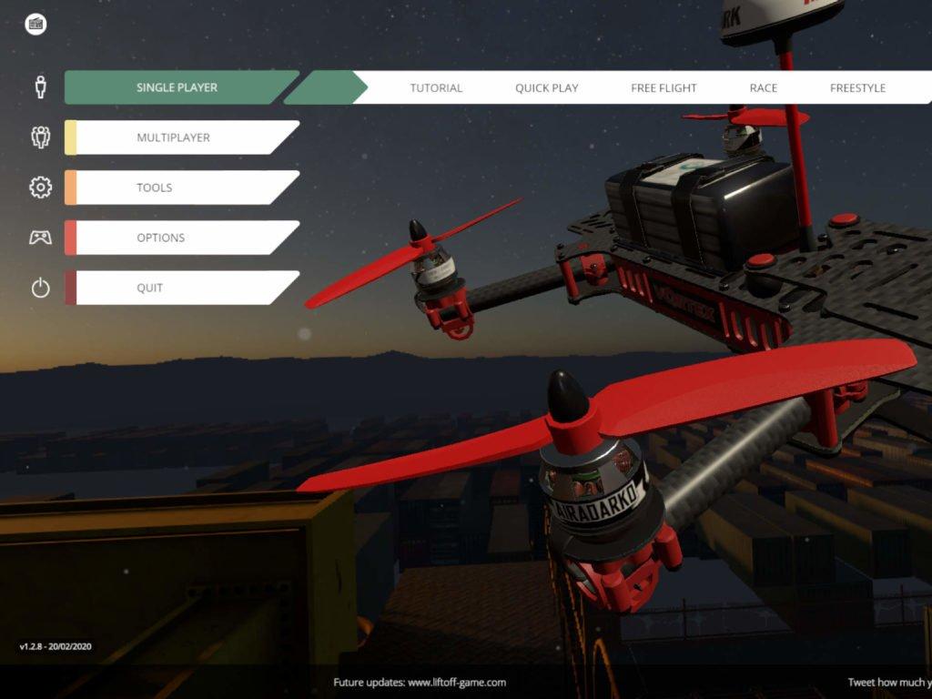LiftOff Simulator Hauptmenü Screenshot