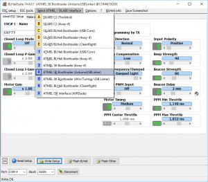 BLHeliSuite - Interface Auswahl