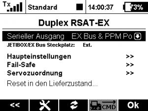 Jeti RSAT2 Gerätemanager - EX-BUS an EXT