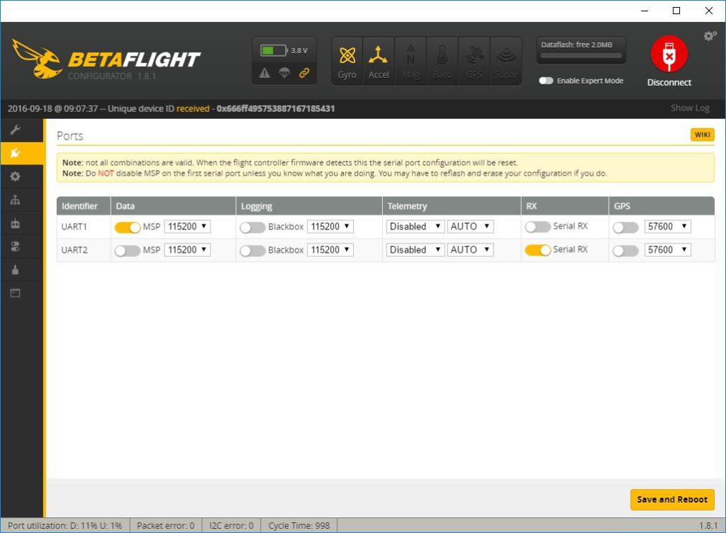 EX Bus Telemetrie BetaFlight - Ports CC3D
