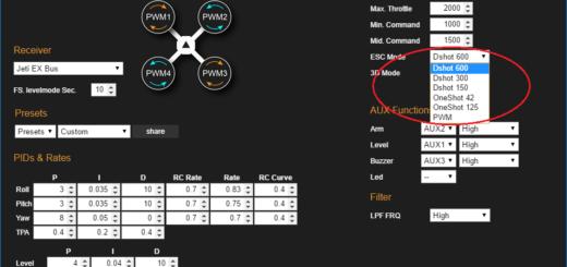Flyduino KISS GUI - DShot 600 aktivieren