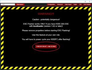Flyduino KISS GUI - ESC Flasher Warnung