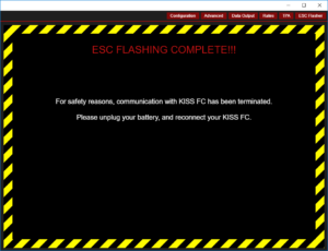 Flyduino KISS GUI - Flashvorgang abgeschlossen