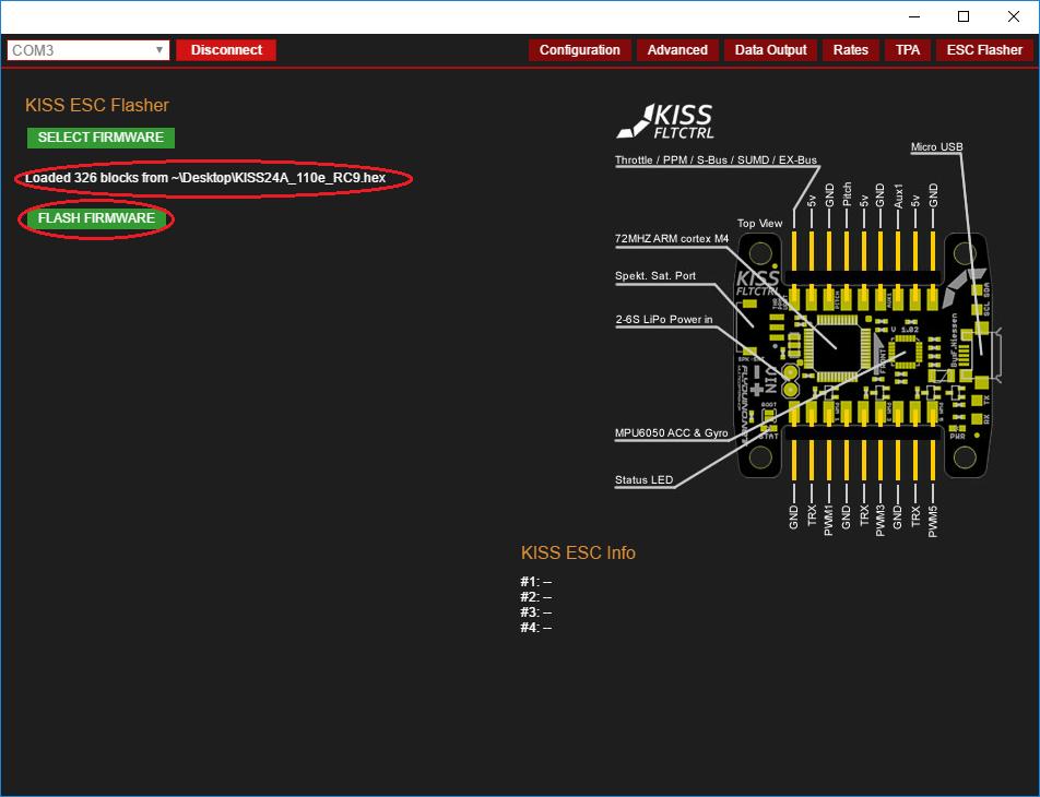 Flyduino KISS GUI - HEX-File Auswahl
