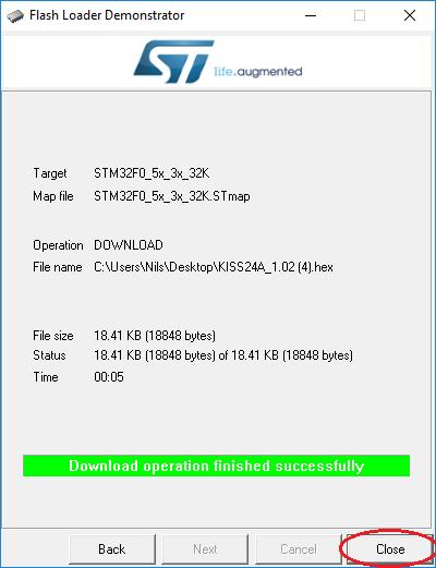 KISS ESC 24A STM Flashtool Schritt 9