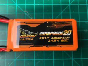 Dinogy Ultra Graphene 2.0 4S 1300 mAh 80C (New) - Front View
