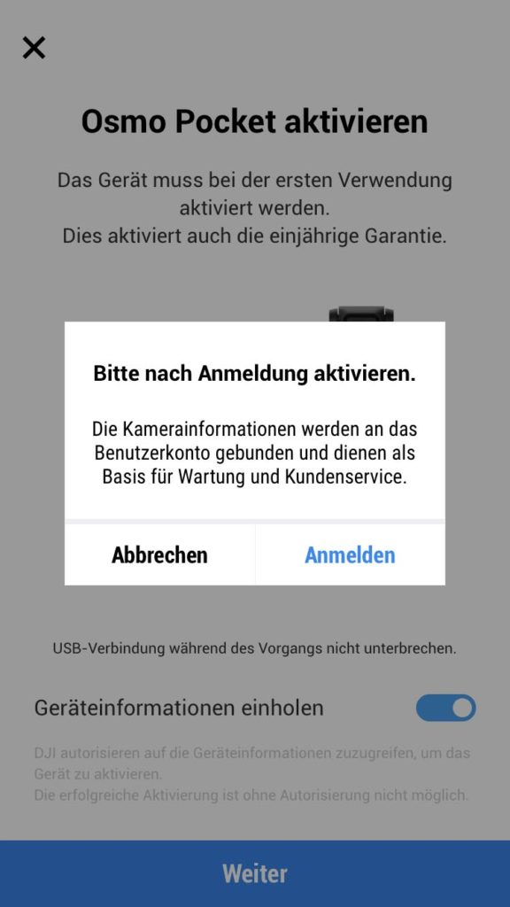 DJI Mimo App - Aktivierung 2