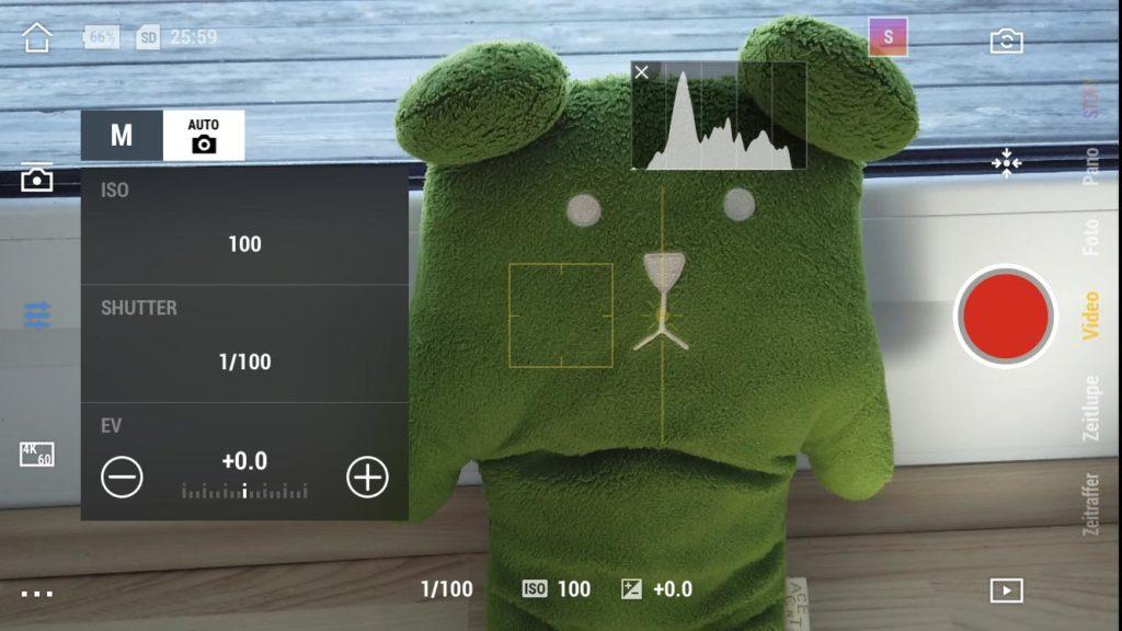 DJI Mimo App - Manuelle Kameraeinstellungen