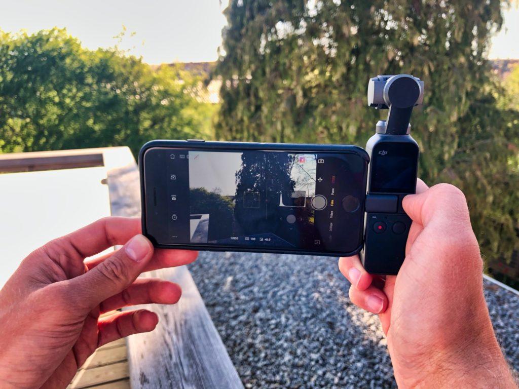 DJI Osmo Pocket mit iPhone 7 von hinten