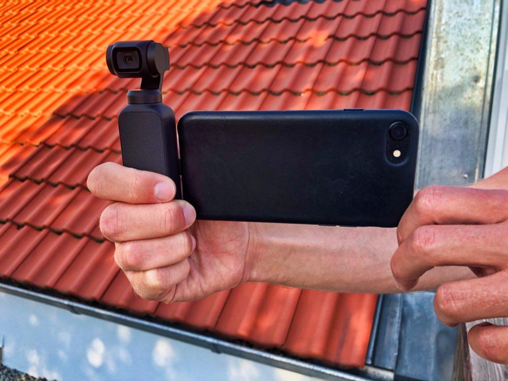 DJI Osmo Pocket mit iPhone 7 von vorne