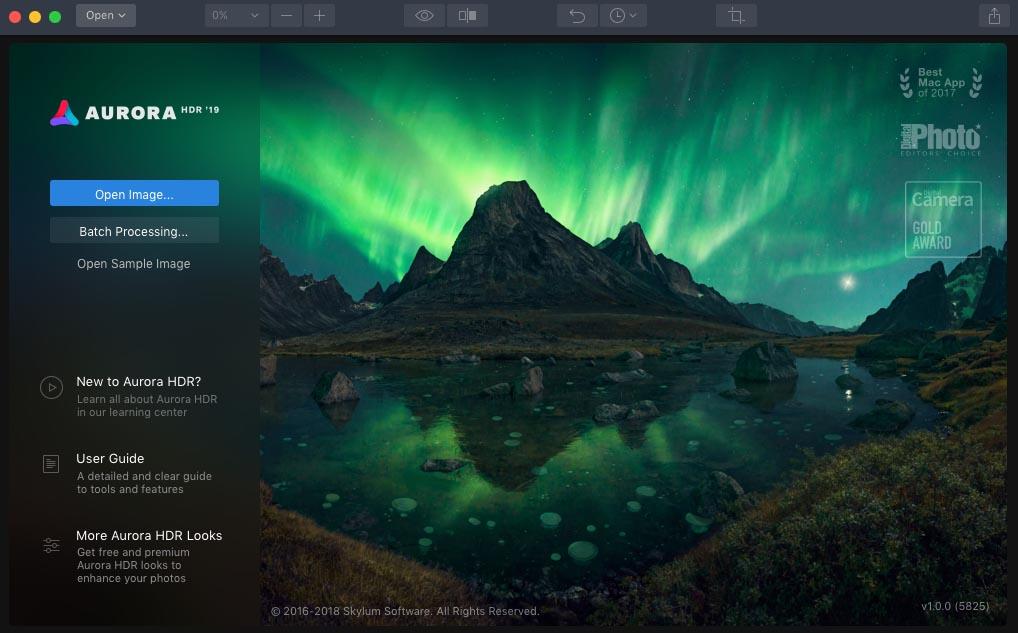 HDR-Fotos mit der Drohne - Aurora HDR 2019 Startbildschirm
