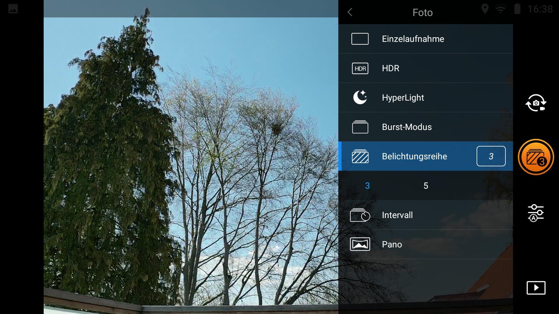 HDR-Fotos mit der Drohne - Mavic 2 Pro Belichtungsreihe wählen