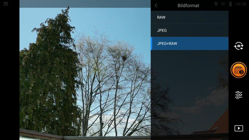 HDR-Fotos mit der Drohne - Mavic 2 Pro RAW Format wählen