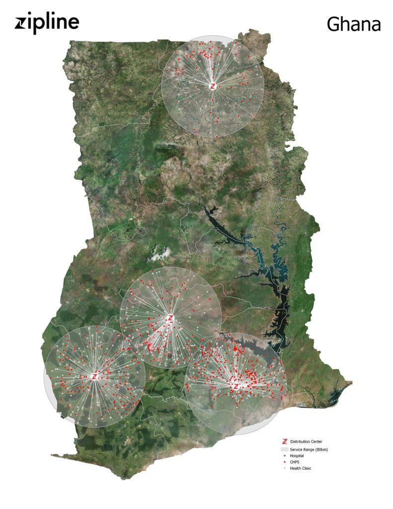 Zipline Ghana Map