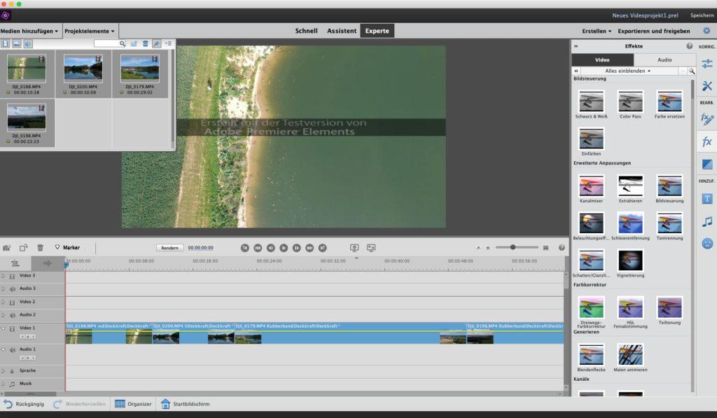 Adobe Premiere Elements 2019 Oberfläche - Videoschnitt für Drohnenvideos