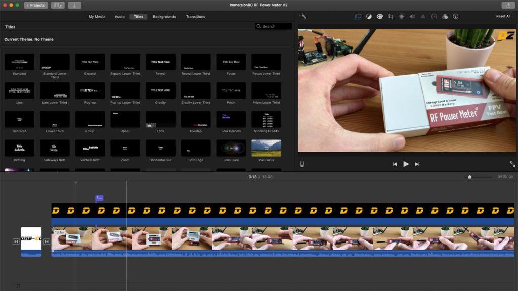 Apple iMovie Oberfläche - Videoschnittprogramme für Drohnenvideos