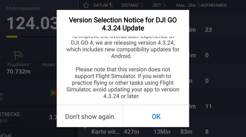 DJI Go 4 App Update Hinweis 1