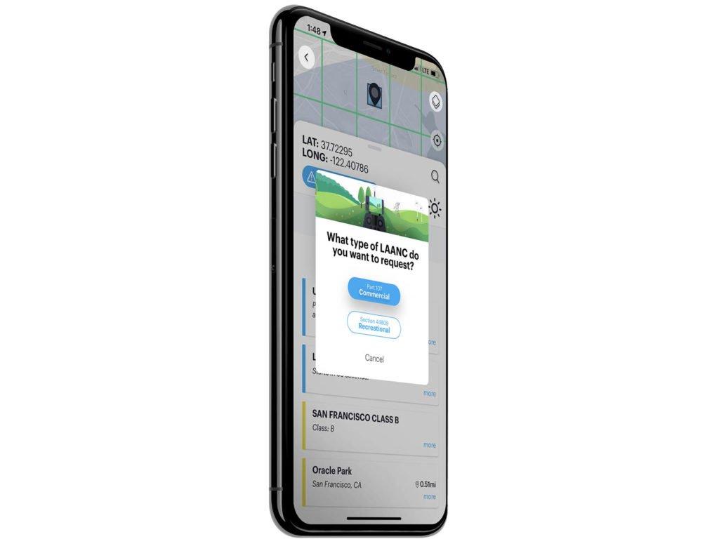 LAANC Recreational Kittyhawk App auf einem iPhone