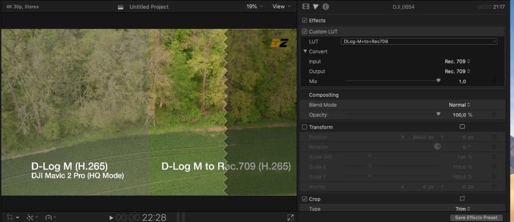LUT für Drohnen Video in Apple Final Cut Pro anwenden