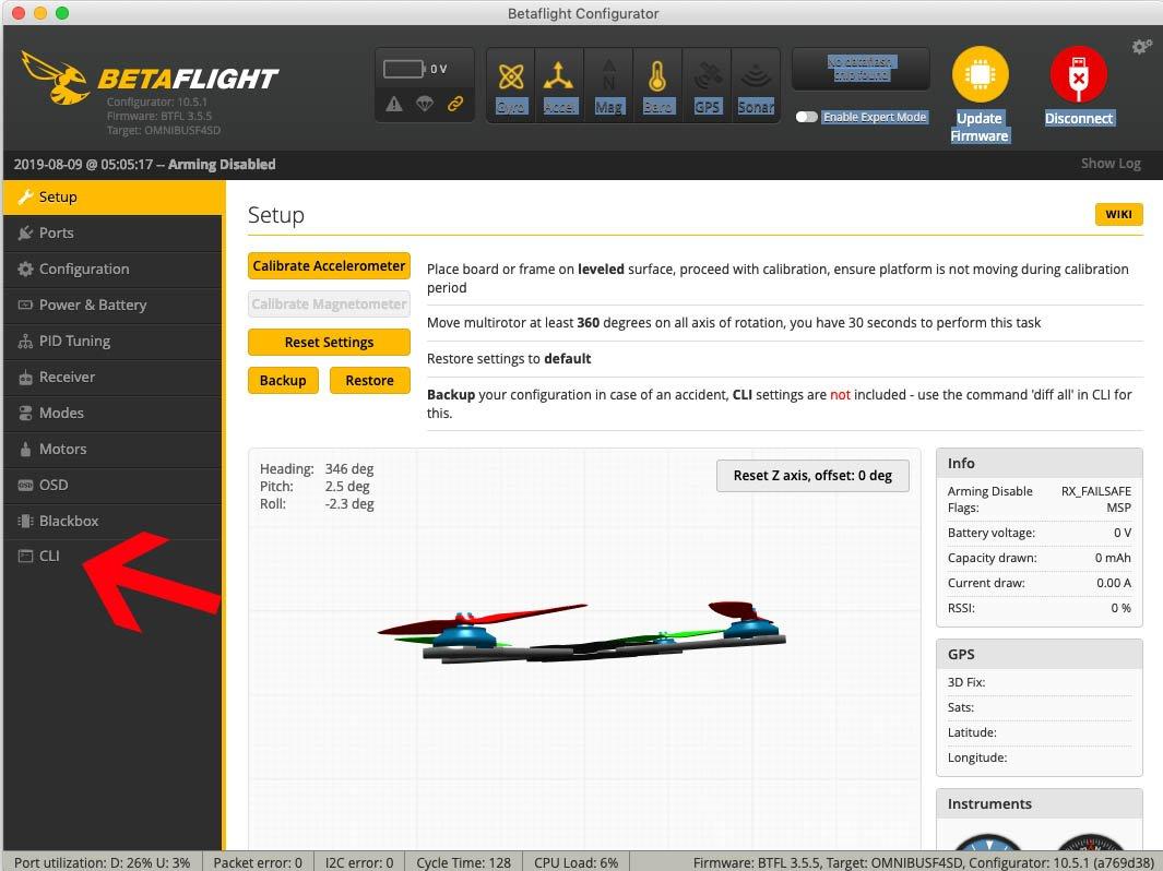 Betaflight Configurator GUI - CLI Tabs links unten