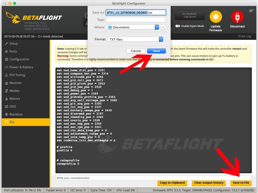 CLI Backup in Betaflight erstellen