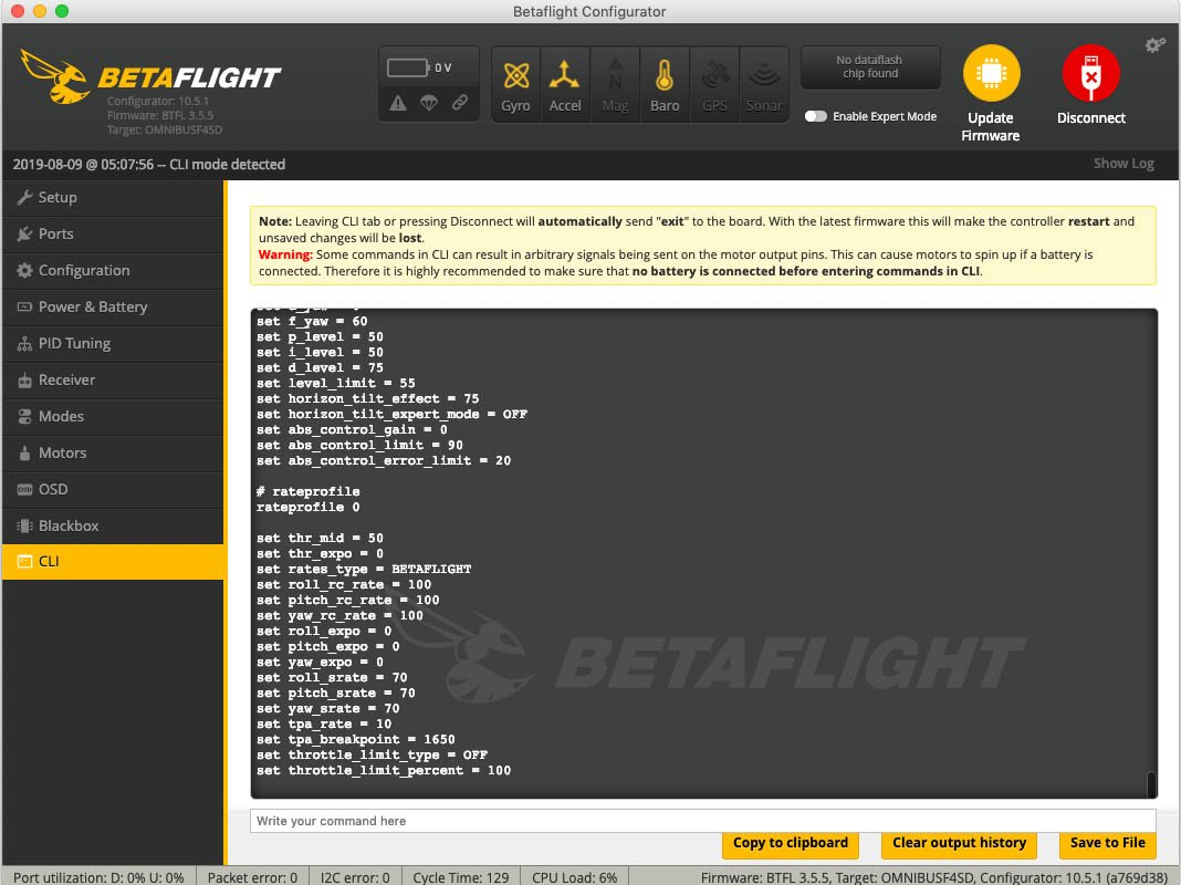 CLI in Betaflight - Ergebnis des DUMP-Befehls