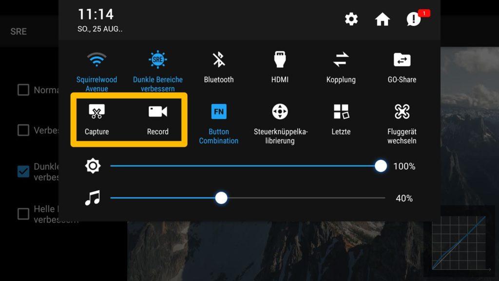 DJI Smart Controller - Screenshot und Screen Record Funktion