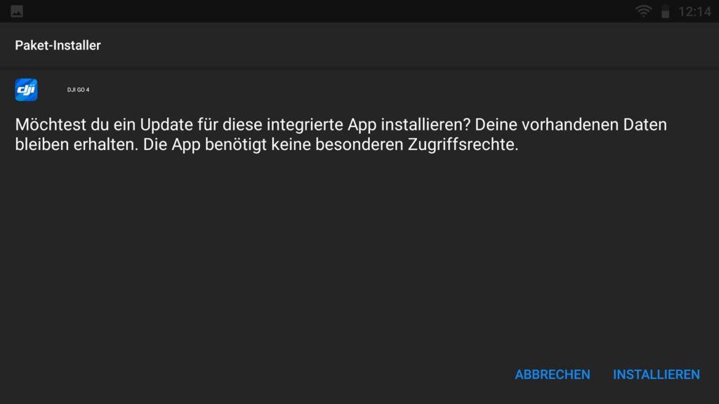 DJI Go 4 App v4.3.24 Smart Controller Update - Installationsassistent