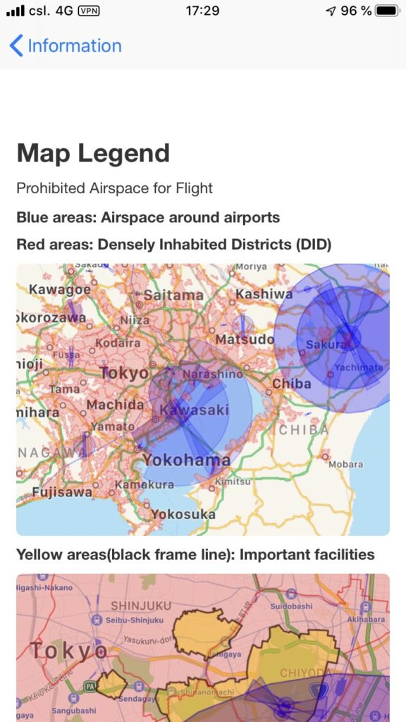 Drone Maps Japan Ünbersicht der Verbotszonen