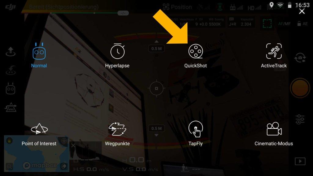 Drohnen Quick Shot DJI Go 4 App