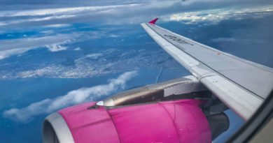 Blick aus dem Flugzeug auf Passagierjet Triebwerk