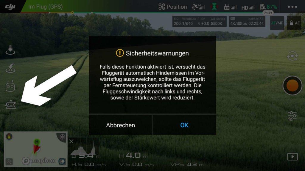 DJI GO 4 App - APAS Warnung
