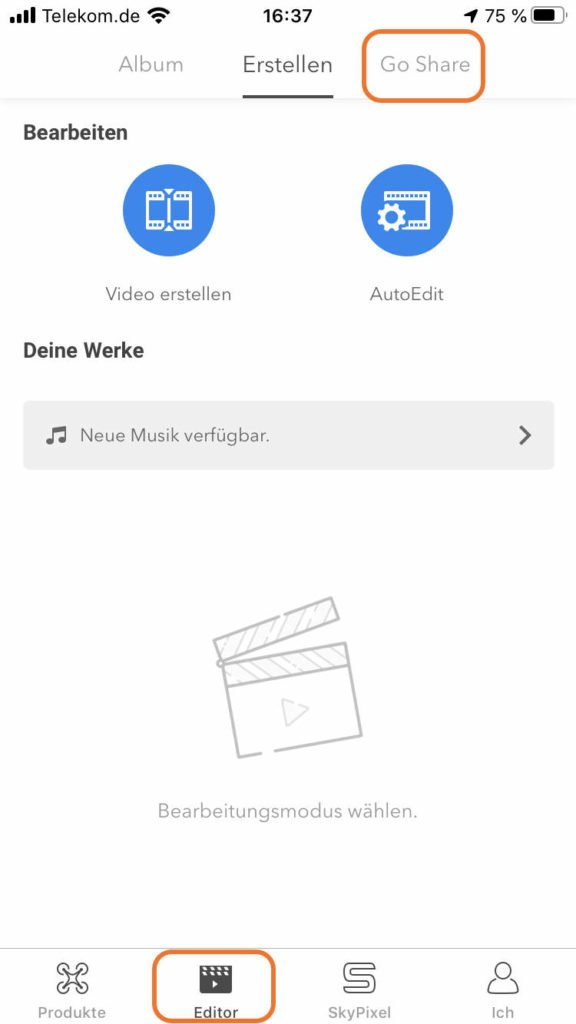 DJI GO 4 App Editor Menü