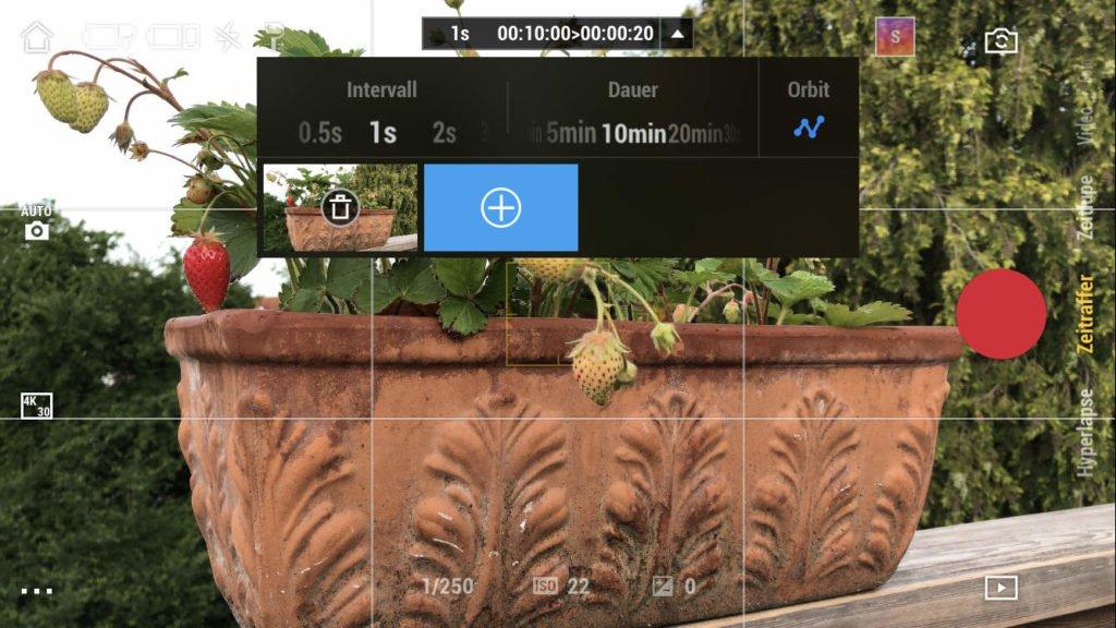 Einstellung für einen bewegten Zeitraffer - DJI Mimo App