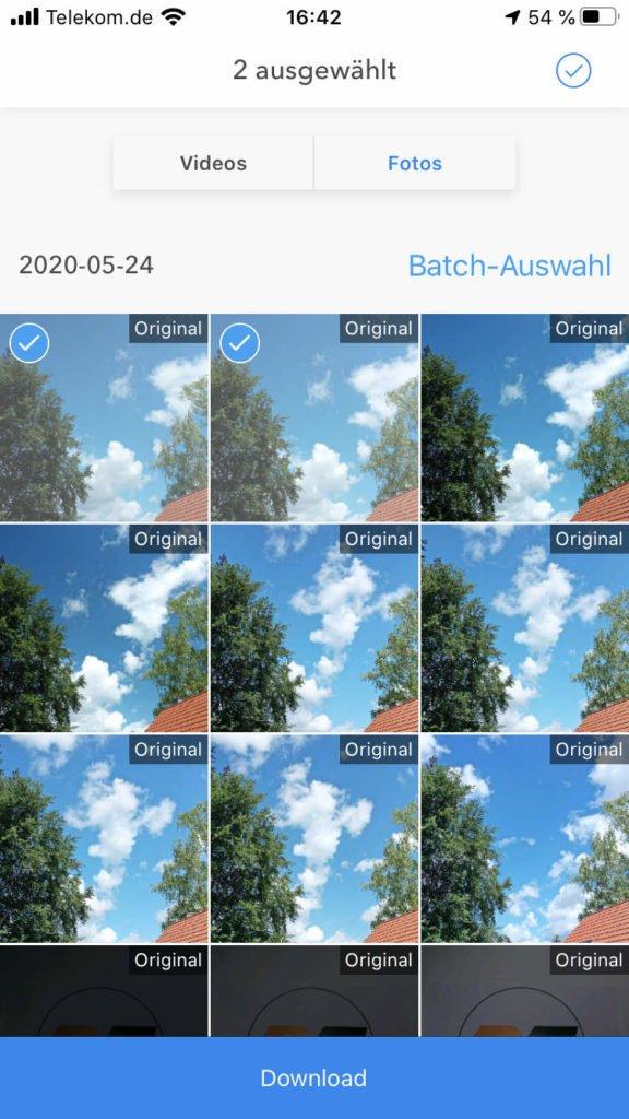 Mehrere Bilder für Download auswählen