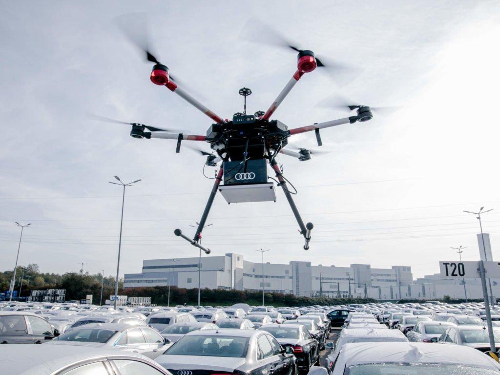 Drohne lokalisiert Neuwagen im Audiwerk Neckarsulm
