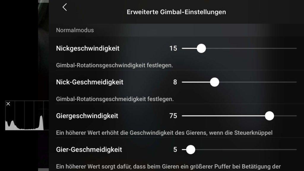 DJI Fly App v1.1.6 - Erweiterte Gimbal-Einstellungen
