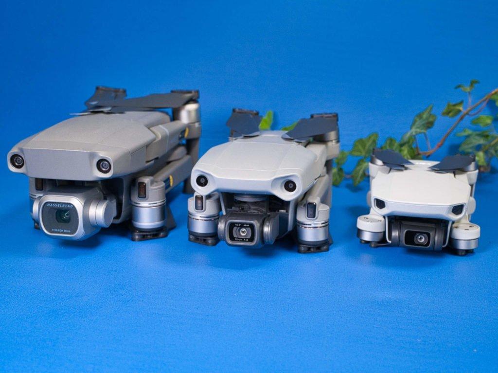 Mavic Mini, Mavic Air 2 und Mavic 2 Pro Drohnen von vorne