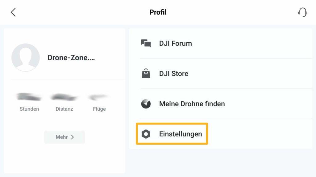 DJI Fly App Einstellungen öffnen