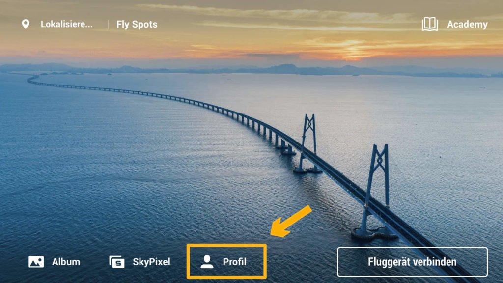 DJI Fly App Profil Menü öffnen