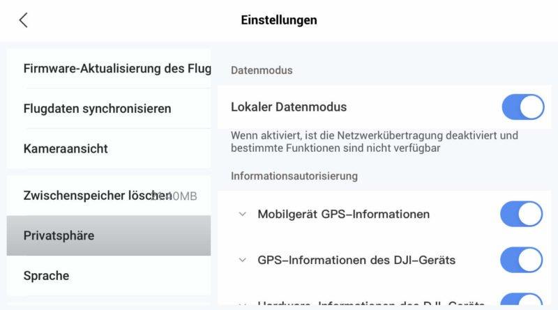 Local Data Mode Lokaler Datenmodus in Fly App aktiv