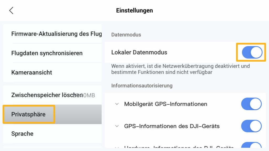 Local Data Mode Lokaler Datenmodus in Fly App aktivieren