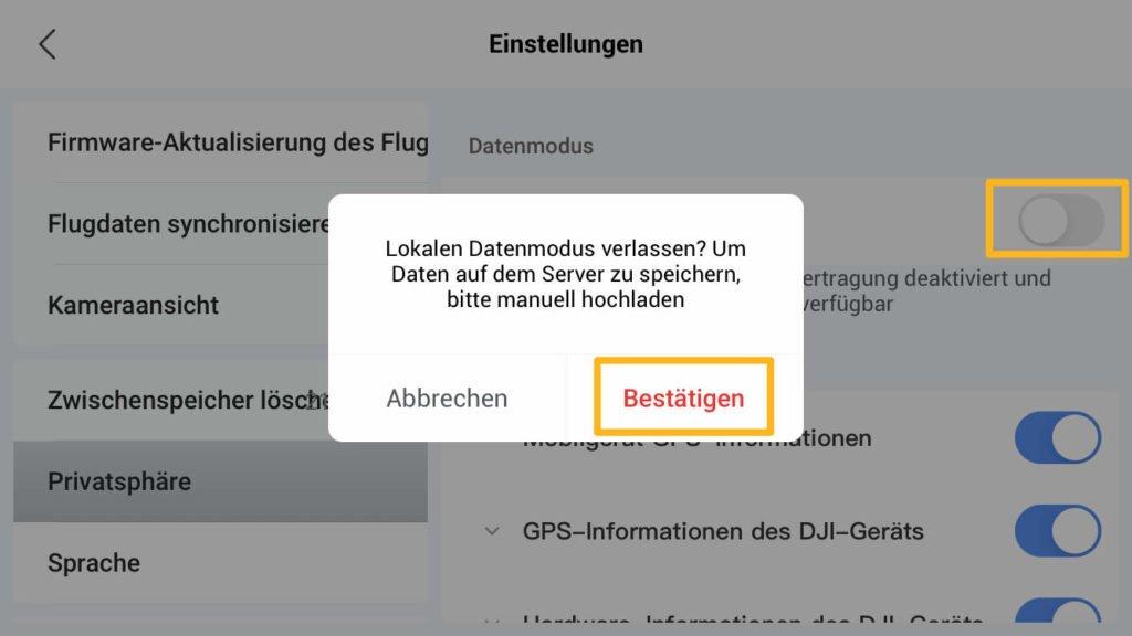 Lokalen Datenmodus deaktivieren