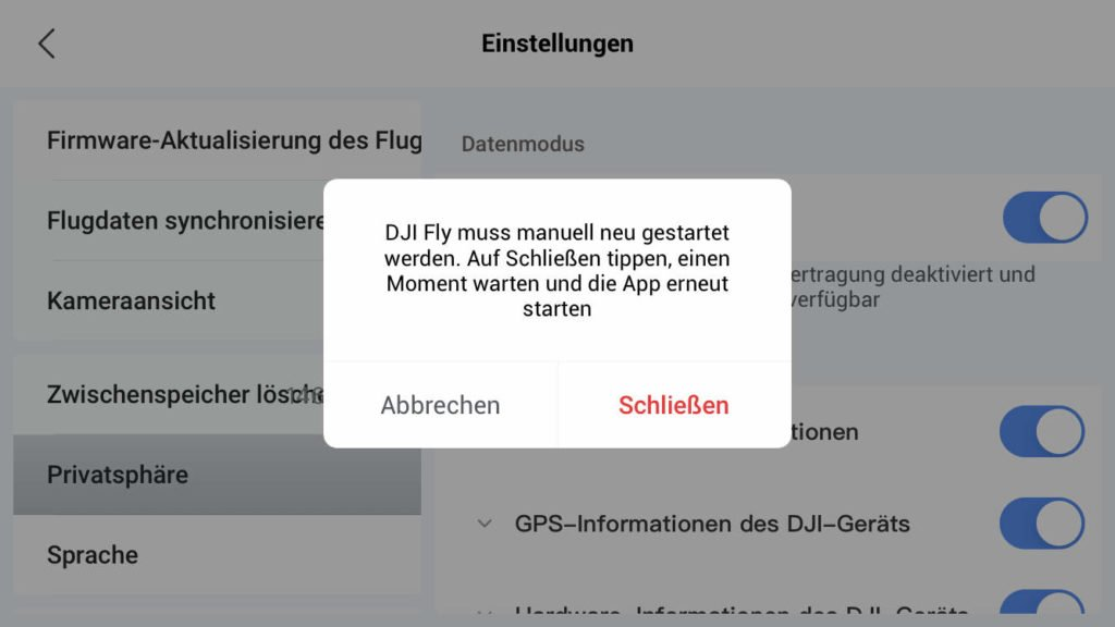 Local Data Mode verlang Neustart der DJI Fly App 1