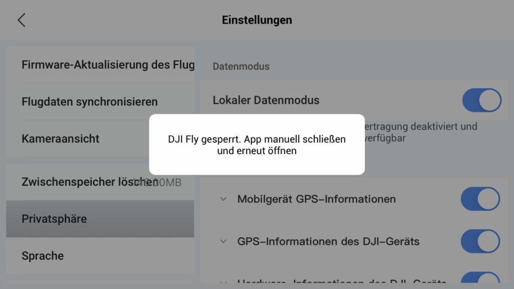 Local Data Mode verlang Neustart der DJI Fly App