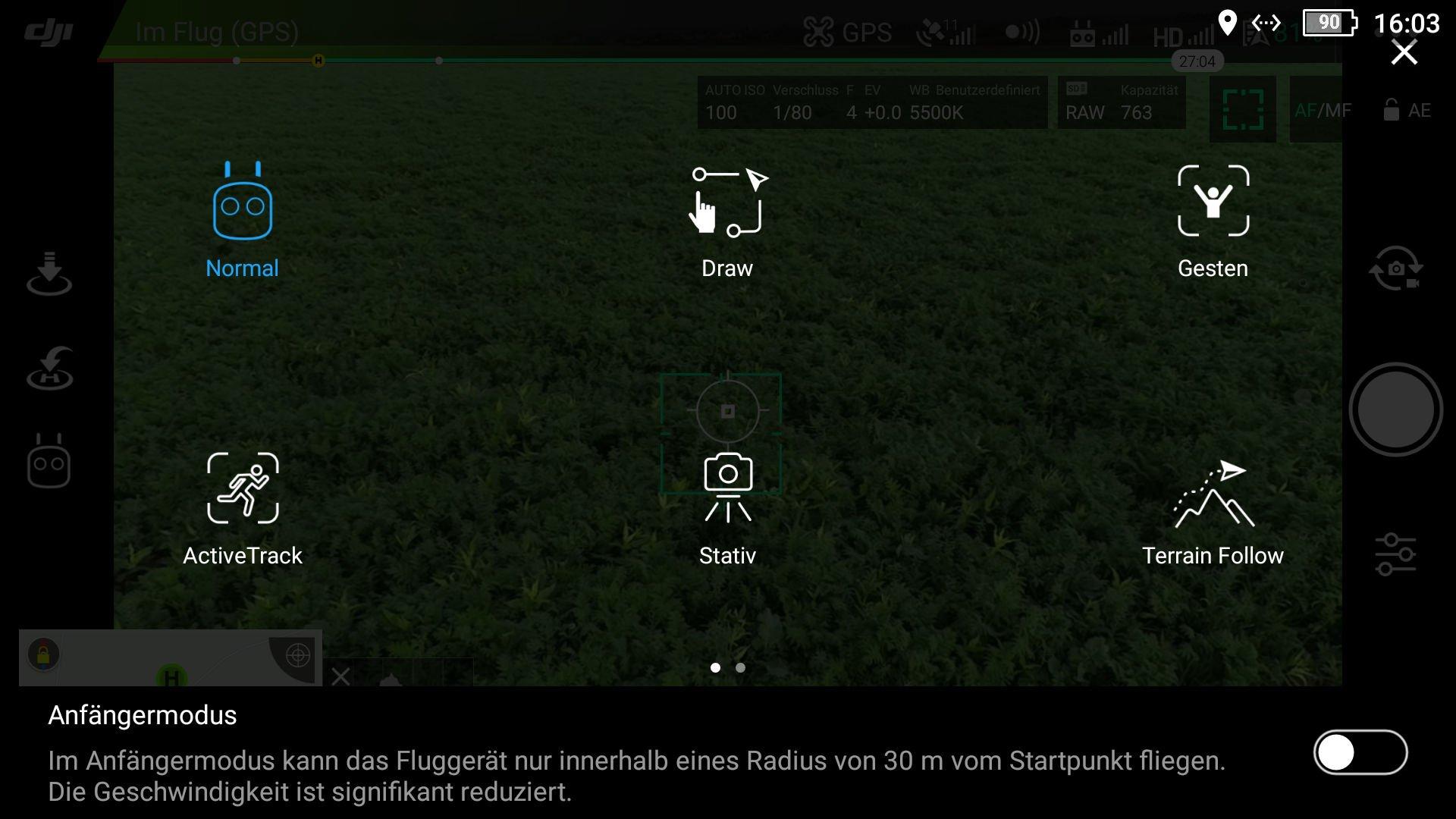 Die Drohne bietet verschiedene intelligente Flugmodi